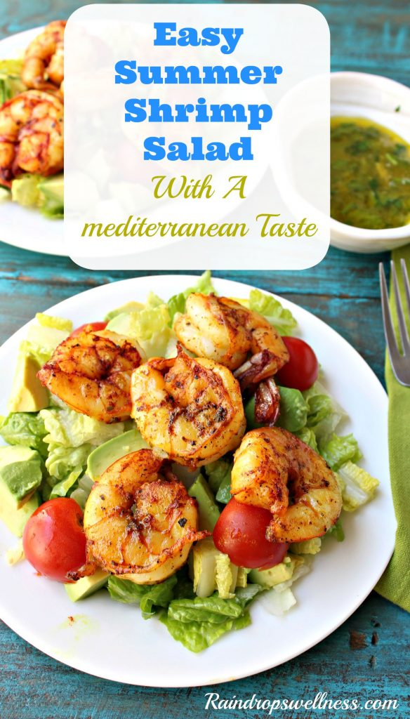 Easy summer shrimp salad with a mediterranean taste