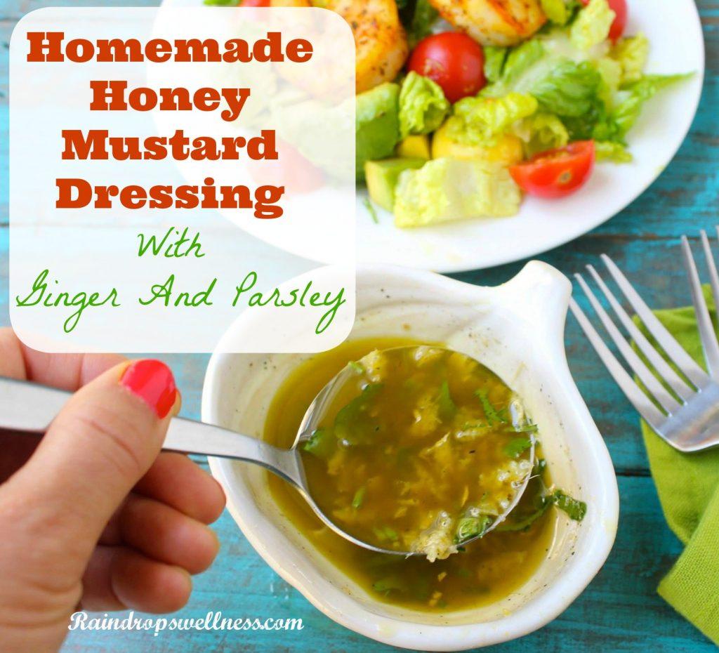 Natuarl homemade honey mustard dressing with ginger and parsley
