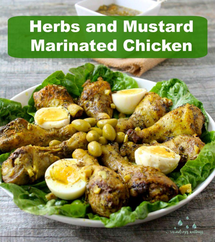 Herbs and mustard mediterranean style marinated chicken drumpsticks