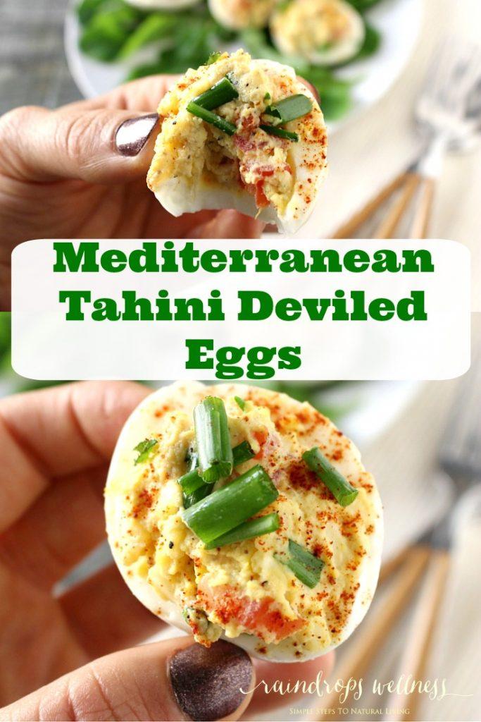 Mediterranean Tahini Deviled Eggs